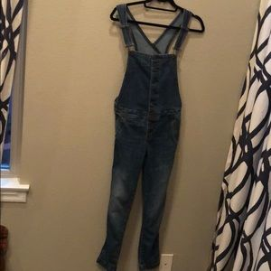 Free People Button-down Jean Overalls